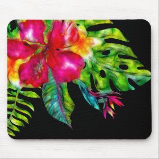 Tapis De Souris Ketmie et feuille floraux tropicaux lumineux
