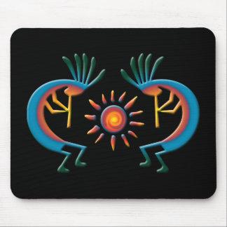 Tapis De Souris Kokopelli avec Sun vers le sud-ouest Mousepad noir