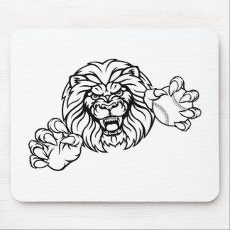 Tapis De Souris La boule de base-ball de lion folâtre la mascotte