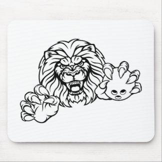 Tapis De Souris La boule de bowling de lion folâtre la mascotte
