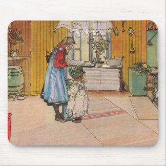 Tapis De Souris La cuisine par la copie d'art de Carl Larsson
