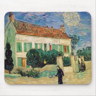 Tapis De Souris La Maison Blanche de Vincent van Gogh | la nuit,
