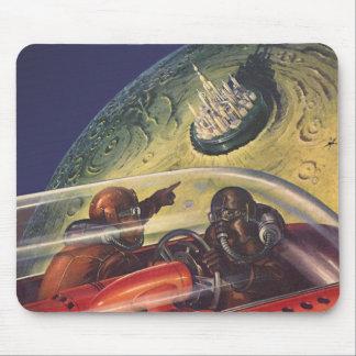 Tapis De Souris La science-fiction vintage, ville futuriste sur la