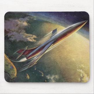 Tapis De Souris La terre vintage d'avion de vaisseau spatial de la