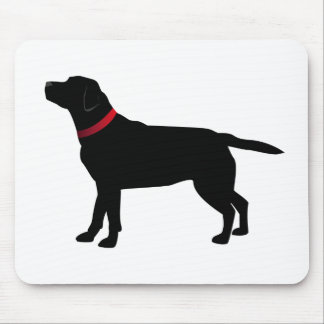 Tapis De Souris Labrador noir avec le collier rouge