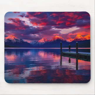 Tapis De Souris Lac McDonald, ciel de rouge de parc national de