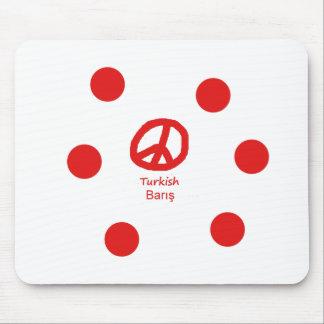 Tapis De Souris Langue et conception turques de symbole de paix