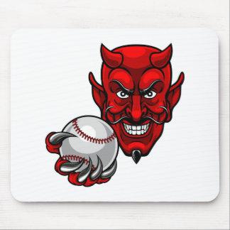 Tapis De Souris Le base-ball de diable folâtre la mascotte