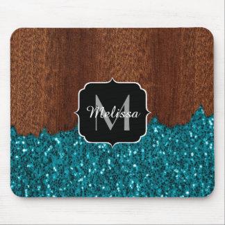 Tapis De Souris Le bleu d'Aqua miroite bois brun rustique cassé