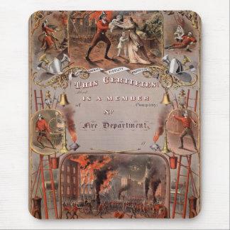 Tapis De Souris Le certificat vintage du pompier