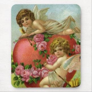 Tapis De Souris Le coeur victorien vintage d'anges de jour de