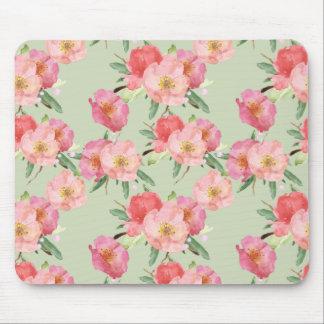Tapis De Souris Le jardin assez rose fleurit l'aquarelle