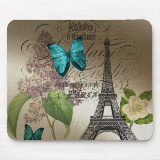 Tapis De Souris le lilas scripts Tour Eiffel vintage moderne de