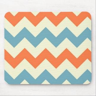 Tapis De Souris Le zigzag bleu orange de chevron barre le motif de