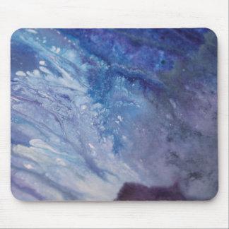 Tapis De Souris L'eau blanche bleue triste de vague de peinture
