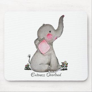 Tapis De Souris L'éléphant mignon de bébé d'aquarelle avec
