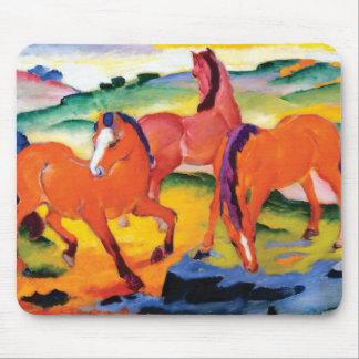 Tapis De Souris Les chevaux rouges par Franz Marc