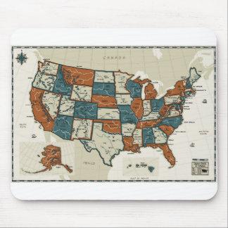 Tapis De Souris Les Etats-Unis - Carte vintage