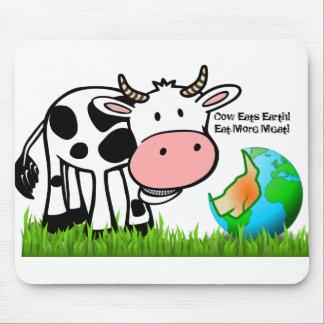 Tapis De Souris Les vaches détruisent la terre ! Mangez de plus de