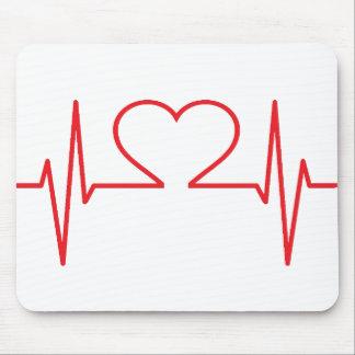Tapis De Souris Ligne rouge de battement de coeur