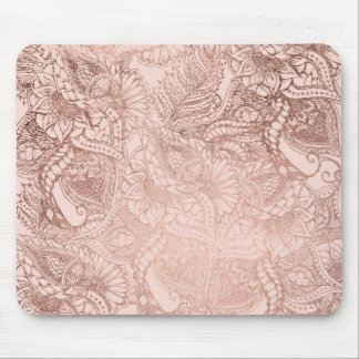 Tapis De Souris L'illustration florale d'or rose moderne