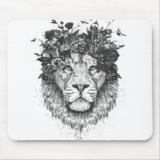 Tapis De Souris Lion floral (noir et blanc)