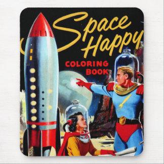 Tapis De Souris Livre de coloriage heureux du rétro espace vintage