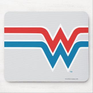 Tapis De Souris Logo blanc de femme de merveille et bleu rouge