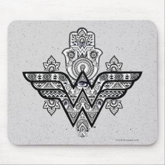 Tapis De Souris Logo spirituel de Paisley Hamsa de femme de