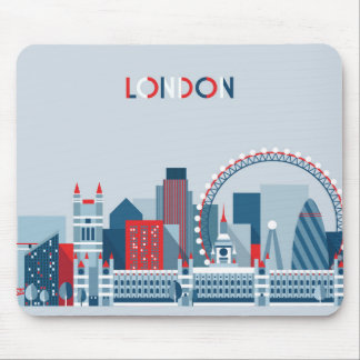 Tapis De Souris Londres, Angleterre horizon rouge, blanc et bleu