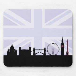 Tapis De Souris Londres situe l'horizon et l'Union Jack/pourpres