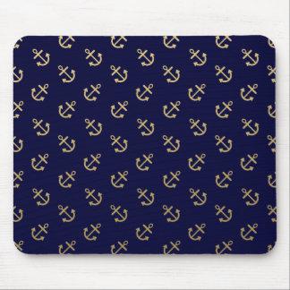 Tapis De Souris L'or ancre le motif d'arrière - plan de bleu