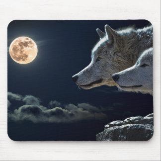 Tapis De Souris Loups de loup hurlant à la pleine lune la nuit