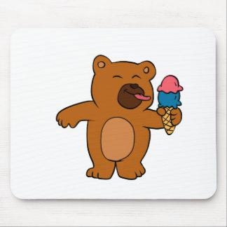 Tapis De Souris L'ours de bande dessinée mange la crème glacée