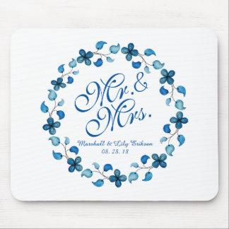 Tapis De Souris M. et Mme Blue Watercolor Floral Wedding Mousepad