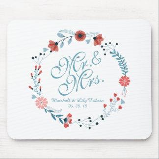 Tapis De Souris M. et Mme Cute Floral Wreath Wedding Mousepad