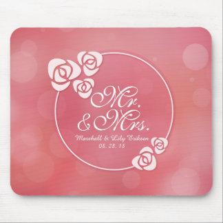 Tapis De Souris M. et Mme Elegant Floral Frame Wedding | Mousepad