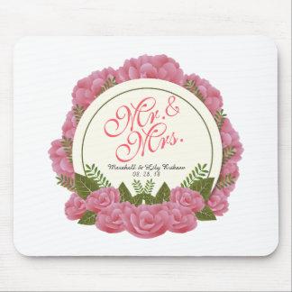 Tapis De Souris M. et Mme Elegant Floral Frame Wedding Mousepad