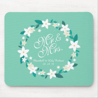 Tapis De Souris M. et Mme Elegant Floral Wedding | Mousepad