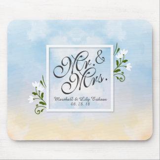 Tapis De Souris M. et Mme Elegant Frame Wedding | Mousepad