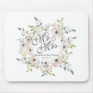 Tapis De Souris M. et Mme Floral Watercolor Wedding | Mousepad