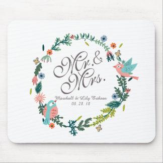 Tapis De Souris M. et Mme Floral Wreath avec des oiseaux épousant