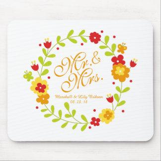 Tapis De Souris M. et Mme Floral Wreath Cheerful Wedding Mousepad
