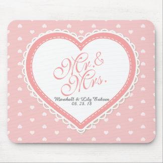 Tapis De Souris M. et Mme Heart Frame Wedding | Mousepad