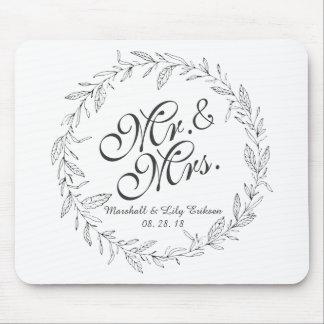 Tapis De Souris M. et Mme Simple Floral Wedding | Mousepad