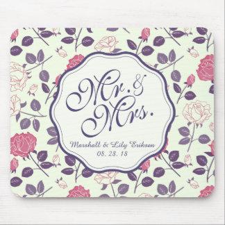 Tapis De Souris M. et Mme Vintage Floral Wedding | Mousepad