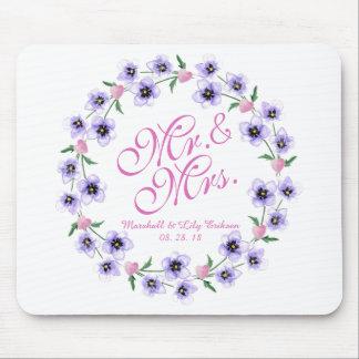 Tapis De Souris M. et Mme Watercolor Floral Wedding Mousepad