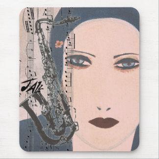 Tapis De Souris Madame With Saxophone de jazz d'art déco