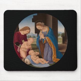 Tapis De Souris Madonna adorant l'enfant avec le saint infantile