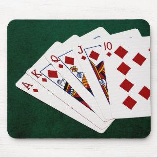 Tapis De Souris Mains de poker - quinte royale - costume de